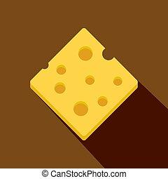 Cheese fresh block icon, flat style - Cheese fresh block...