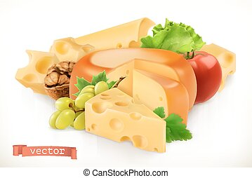 Cheese, fruits and vegetables. 3d vector icon