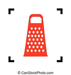 Cheese grater sign. Vector. Red icon inside black focus corners on white background. Isolated.