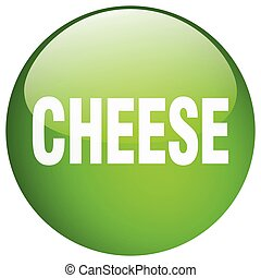 cheese green round gel isolated push button