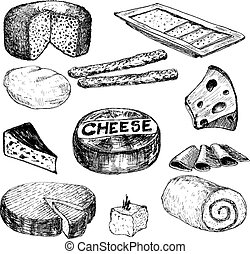 Cheese. Hand drawn collection