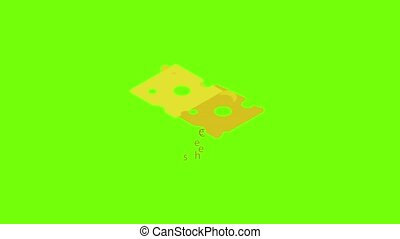 Cheese icon animation cartoon object on green screen background