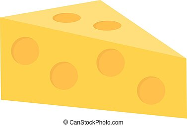 Cheese icon flat style. Isolated on white background. Vector illustration.