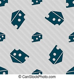 cheese icon sign. Seamless pattern with geometric texture. Vector