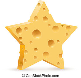 Cheese - Abstract star in form cheese. Illustration on white...