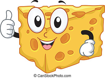 Mascot Illustration Featuring a Slice of Cheese Doing a Thumbs Up