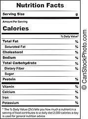 Cheese nutritional label