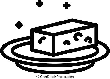 Cheese on a platter icon, outline style - Cheese on a ...