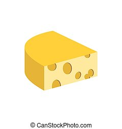 Cheese on a white background. Piece of dairy product. Vector illustration food
