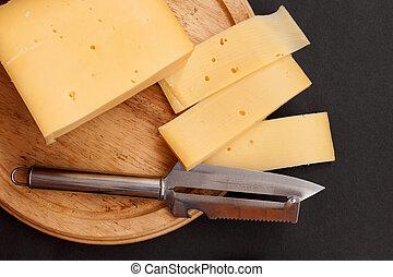 cheese on cutting board