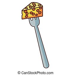 Cheese on fork
