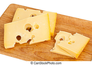Cheese on kitchen plank