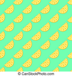 Cheese pattern on the neon green background