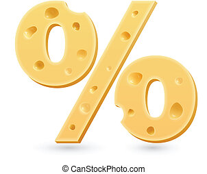Cheese percent mark. Symbol isolated on white.