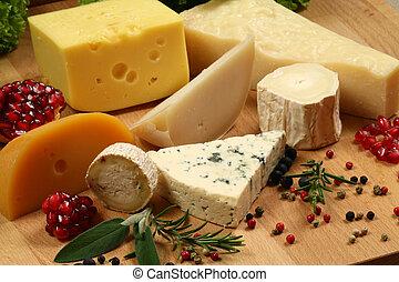 Cheese - Variety of cheese: ementaler, gouda, Danish blue...