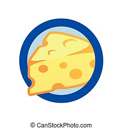Cheese Piece in Round Emblem. Vector Flat Logo isolated on white background. Swiss Cheese Maasdam premium quality.