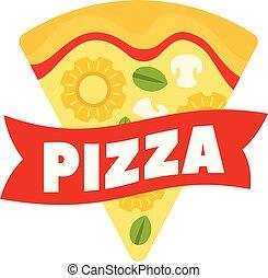 Cheese pizza slice logo, flat style