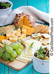 Cheese plate on a table - Cheese plate with variety of...