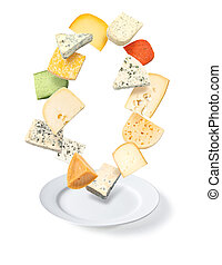 cheese  plate  on white