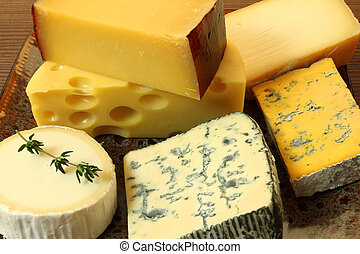 Cheese plate - various types of soft and hard cheese.