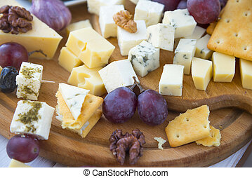 Cheese plate with a variety of cheese