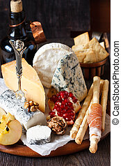 Cheese platter. - Catering cheese platter with ham grissini ...