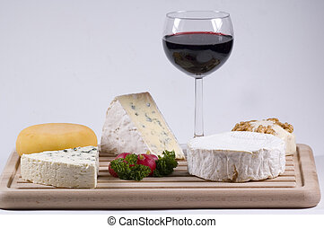 cheese platter - different kinds of French cheese and a...