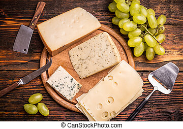 Cheese platter with various cheese
