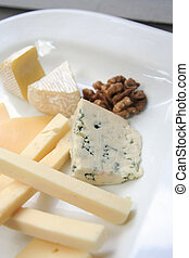 cheese platter - variety of cheese on white plate