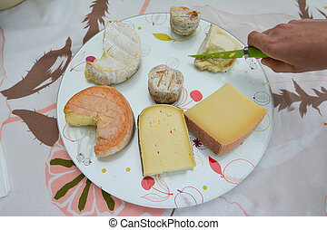 Cheese platter with cheese