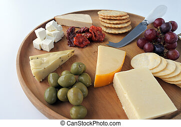 Cheese platter with red wine
