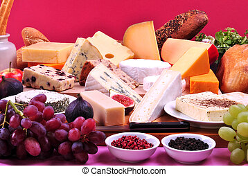 cheese platter with some organic fresh cheese