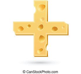 Cheese plus mark. Symbol isolated on white.
