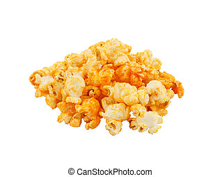 Cheese popcorn isolated on the white background