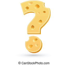 Cheese question mark. Symbol isolated on white.