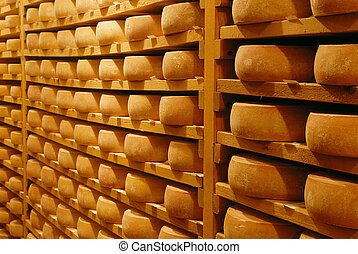 Cheese raclette in refining in a Switzerland cellar