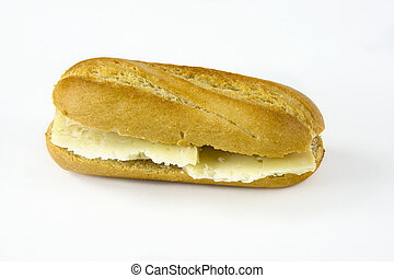 Cheese sandwich on white background