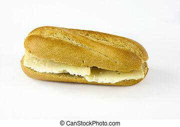 Cheese sandwich on white background