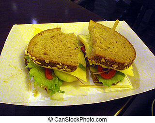 Cheese Sandwich - Cheese sandwich with sliced tomato,...