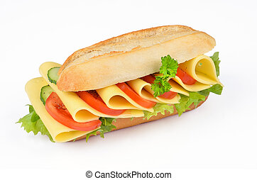 Sandwich with cheese, tomato, cucumber and salad