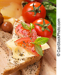 Cheese sandwich with tomato