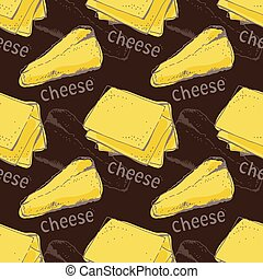 Cheese seamless vector pattern