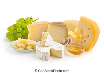 cheese selection, honey and grape isolated on white...