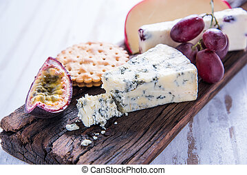 Cheese selection with fresh fig