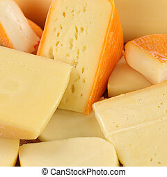 Cheese selection with Gouda and Swiss cheese