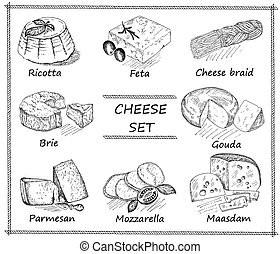 cheese set - cheese. hand drawing set of vector sketches
