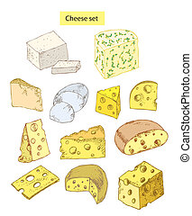cheese set detailed illustration - cheese set detailed hand...