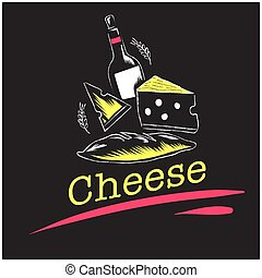 Cheese Set Of Cheese Wine Background Vector Image