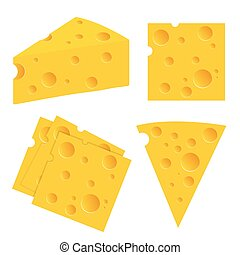 Cheese set vector illustration isolated on white background