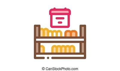 cheese shelf counter Icon Animation. color cheese shelf counter animated icon on white background